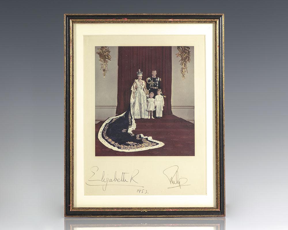 Queen Elizabeth II and Prince Philip Signed Coronation Portrait.