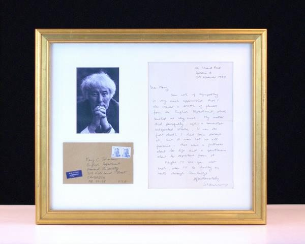 Seamus Heaney Autographed Letter Signed.