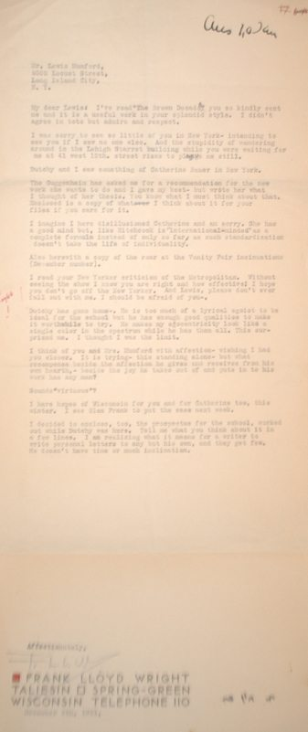 Frank Lloyd Wright Autographed Letter.