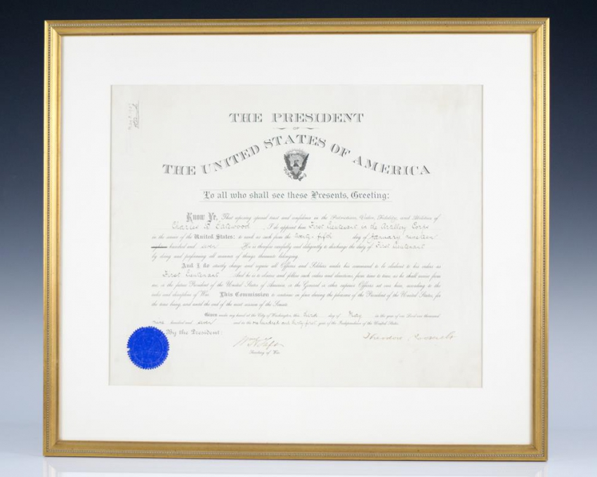 Theodore Roosevelt Signed and William Howard Taft Signed Appointment