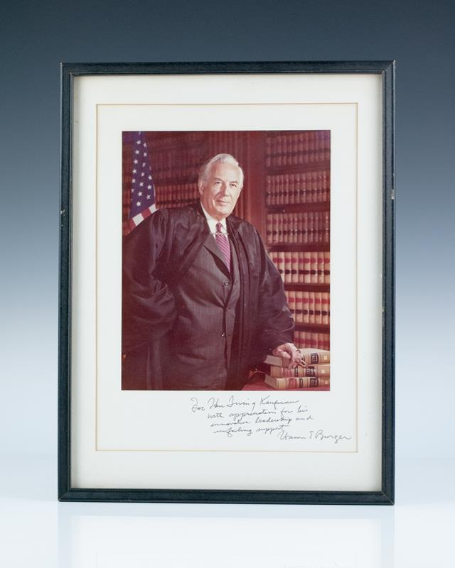 Warren E. Burger Signed Photograph.