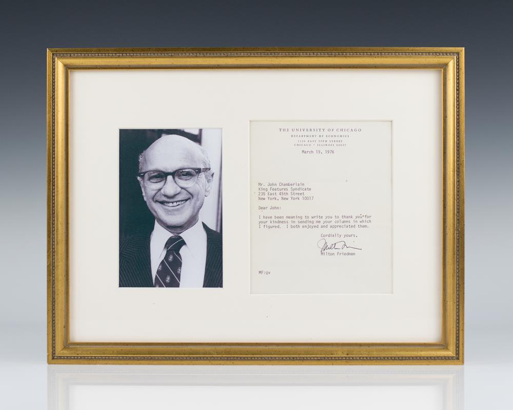 Milton Friedman Autographed Letter Signed.
