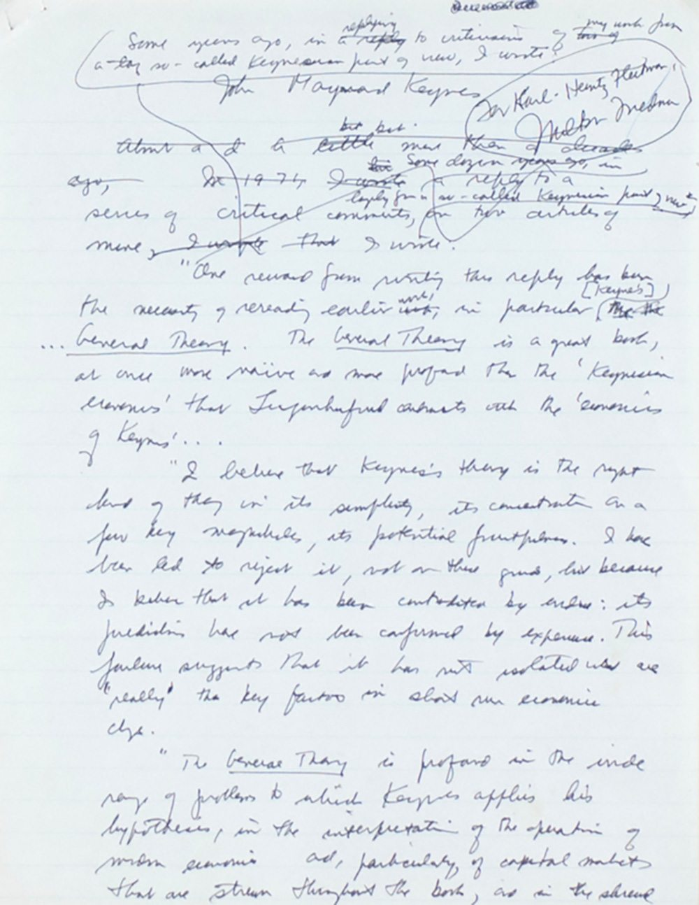 milton friedman j m keynes the general theory signed 5092 middot milton friedman manuscript on j m keynes the general theory