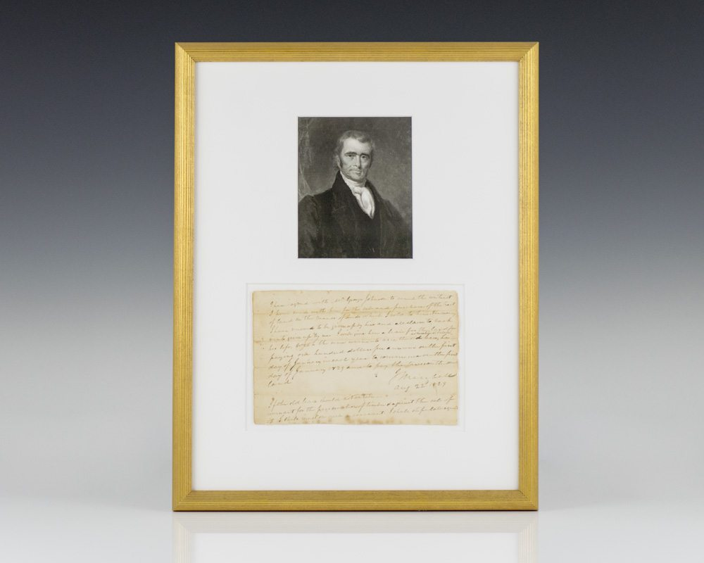 John Marshall Autograph Document Signed.