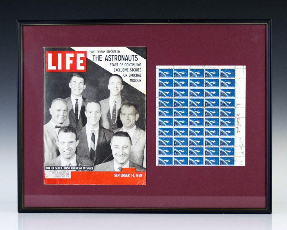 Mercury Seven Signed Sheet of Project Mercury Stamps.