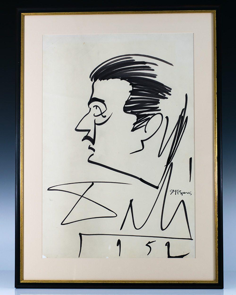 Salvador Dali Signed Drawing.