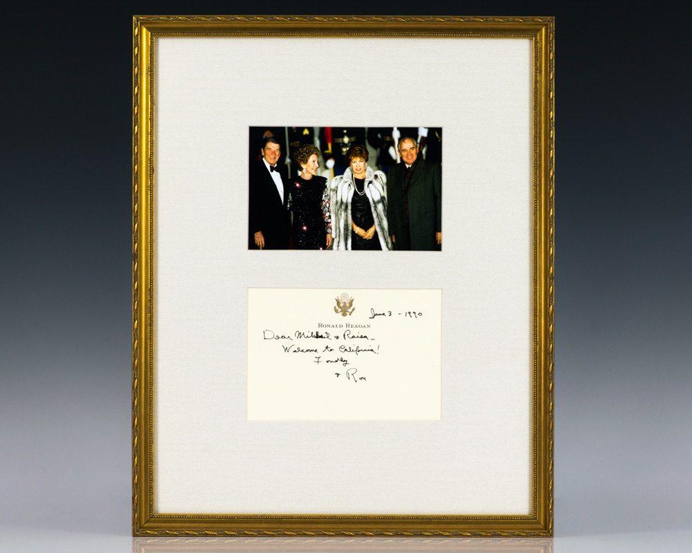 Ronald Reagan Autographed Note To Mikhail and Raisa Gorbachev.
