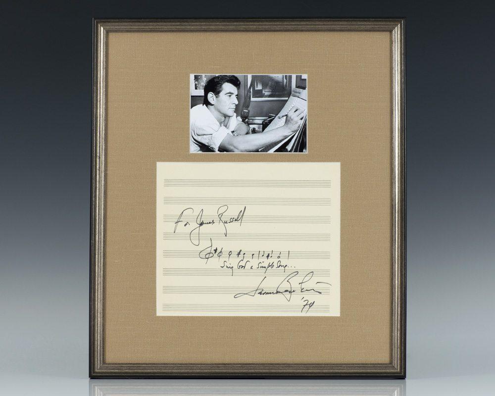 Leonard Bernstein Signed Quote.