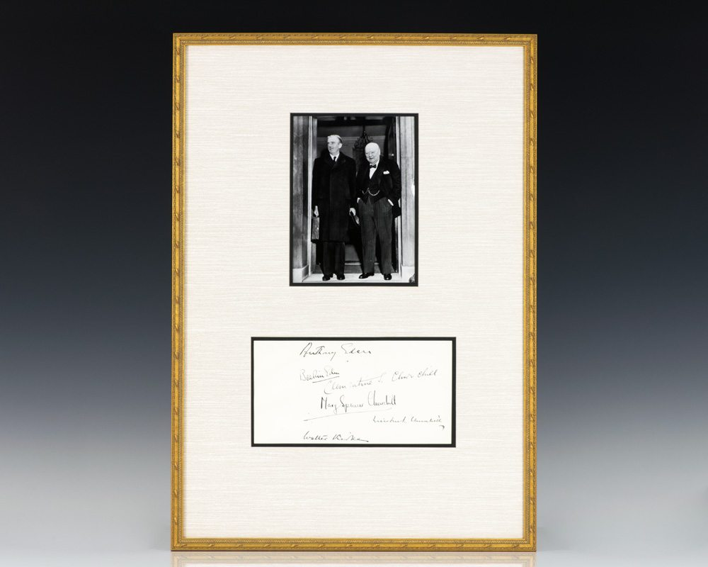 Winston S. and Clementine Churchill and Anthony Eden Signed Guestbook.