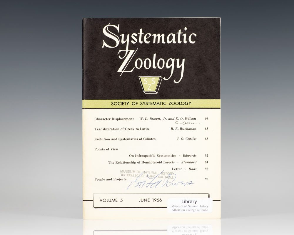 Society of Systematic Biology: Systematic Zoology.