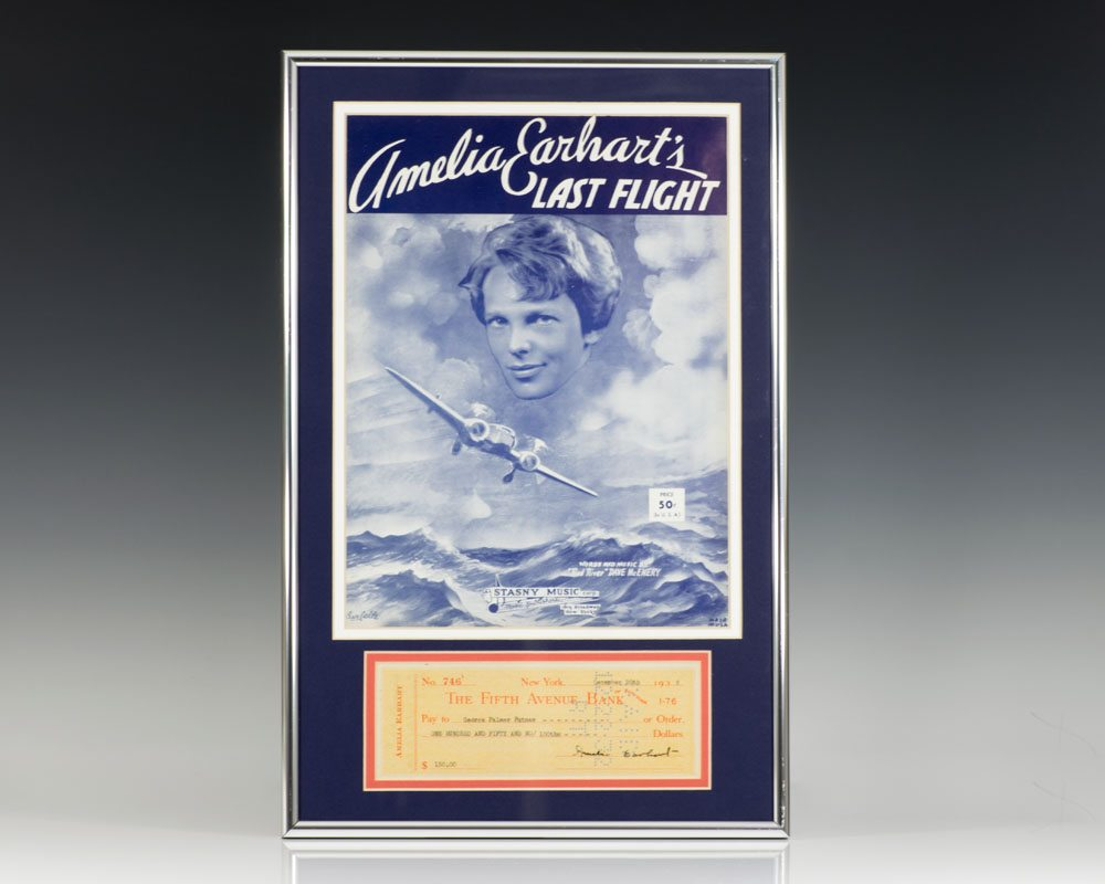 Amelia Earhart Signed Check.