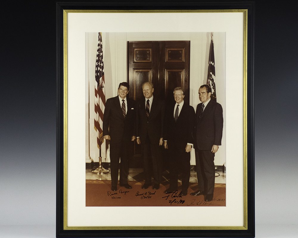 Photograph of Presidents Ronald Reagan, Gerald Ford, Jimmy Carter and Richard Nixon.