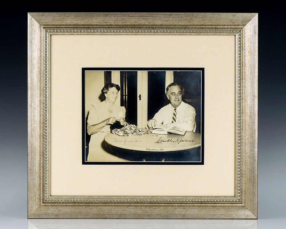 Franklin and Eleanor Roosevelt Signed Photograph: Christmas 1941.