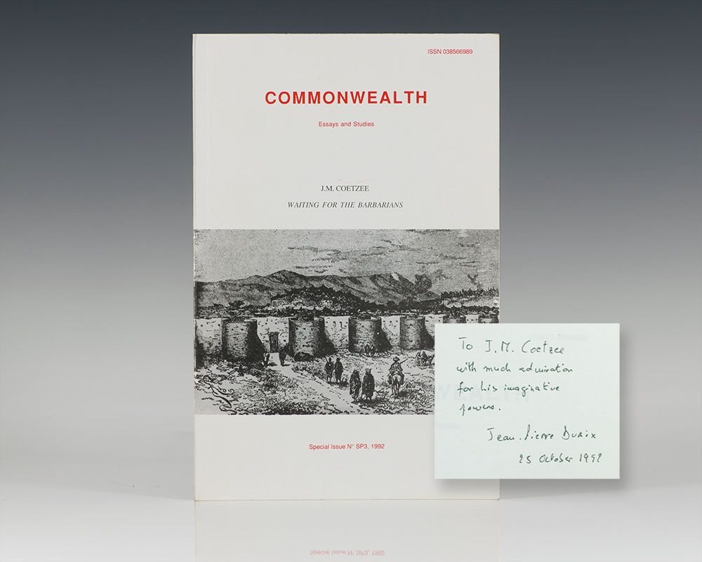 Commonwealth: Essays and Studies, J.M. Coetzee, Waiting For the Barbarians.