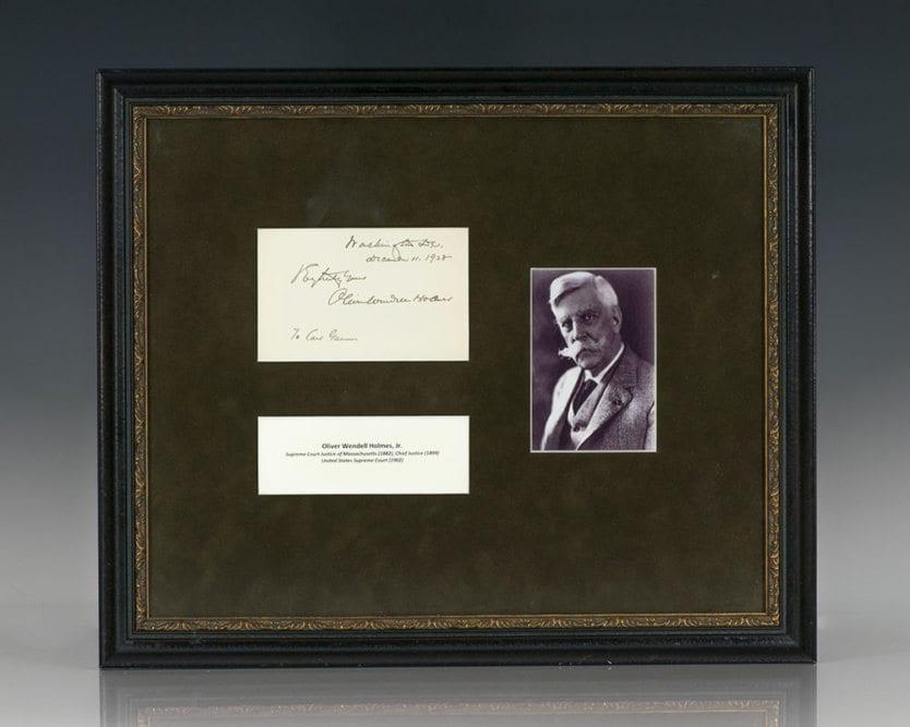 Justice Oliver Wendell Holmes, Jr. Autograph.