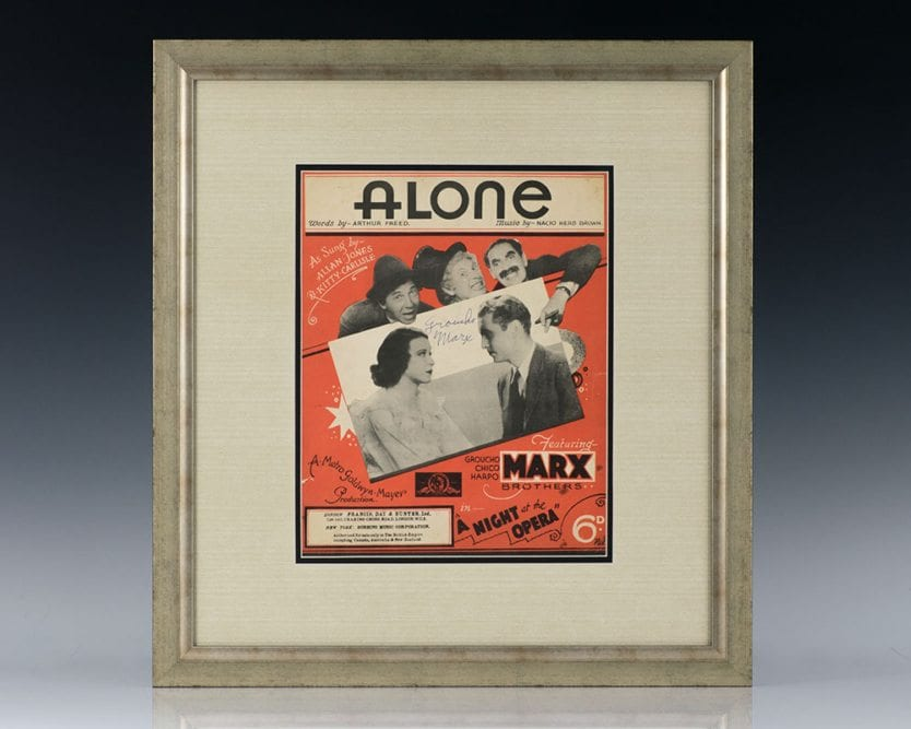 Groucho Marx Signed Score For Alone from A Night at the Opera.