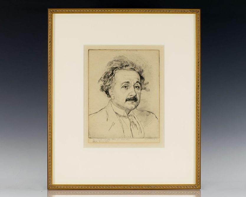 Albert Einstein Signed Etching.