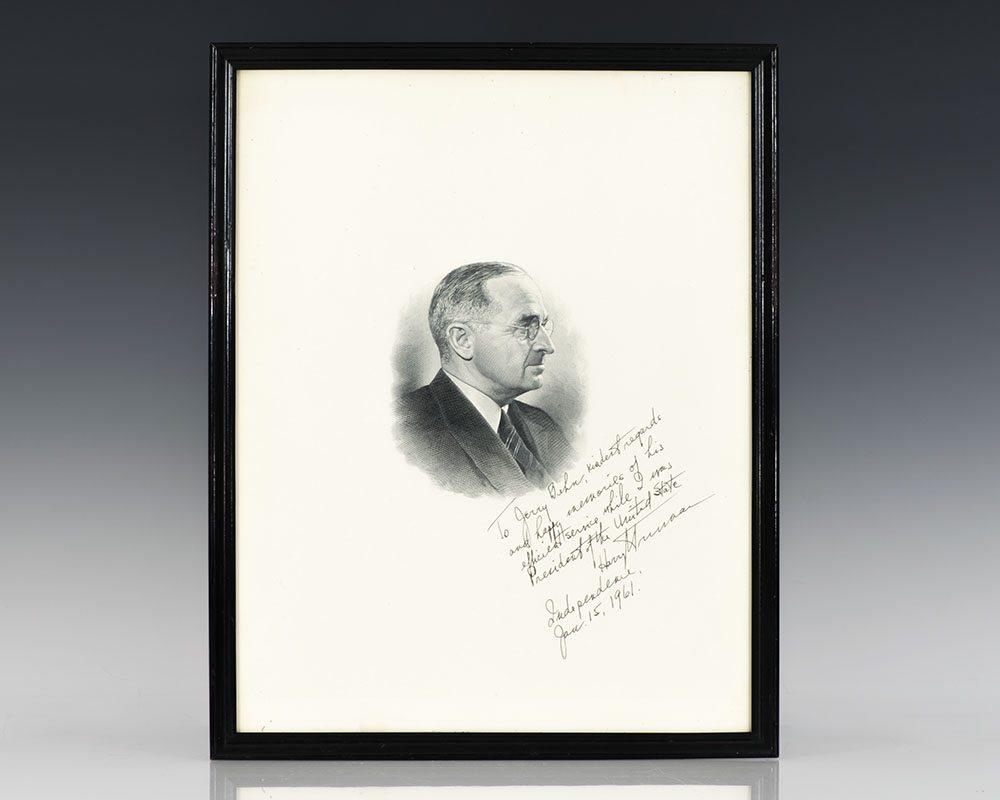 Harry S. Truman Signed Portrait.