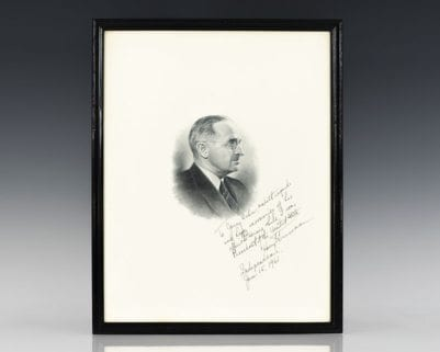 Harry S. Truman Signed Portrait.