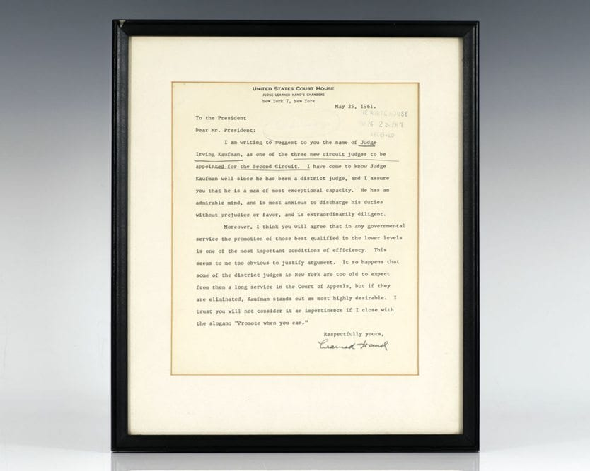 Learned Hand Autographed Signed Letter to President Kennedy.