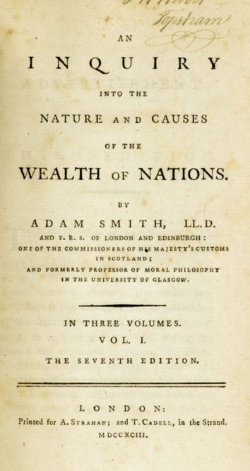 adam smith s wealth of nation Adam smith, 18th-century philosopher and political economist, was born in kirkcaldy, scotland, in 1723 best known for his classic treatise an inquiry into the nature and causes of the wealth of nations, he is credited with establishing the discipline of political economics the ideas put forward in .