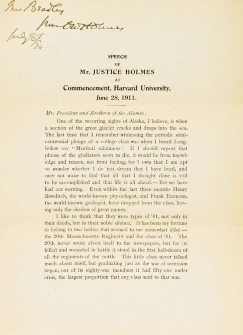 Oliver Wendell Holmes Signed Harvard University Commencement Speech.