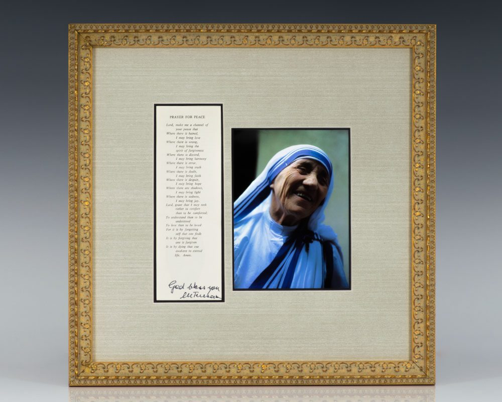 Mother Teresa Signed St. Francis of Assisi's Prayer For Peace.