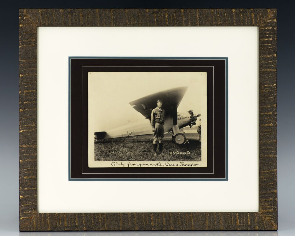 Charles Lindbergh With The Spirit of St. Louis Signed Photograph.