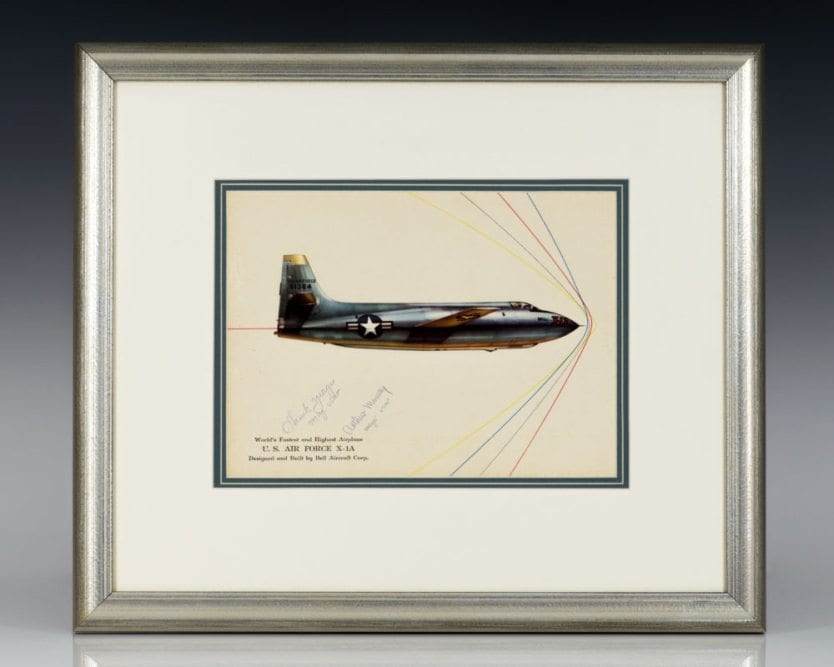 Bell X-1A rocket-powered Aircraft Signed by Chuck Yeager and Arthur W. Murray.