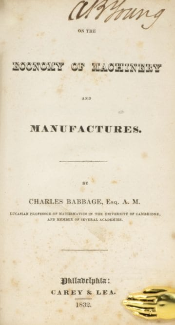 On the Economy of Machinery and Manufactures.