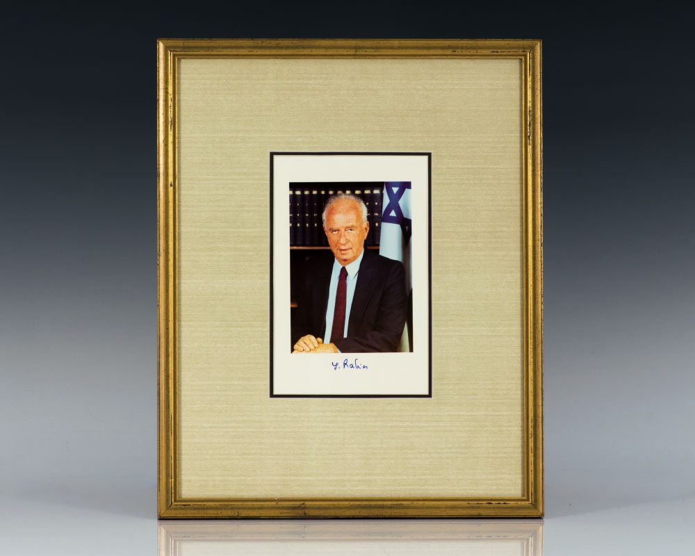 Yitzhak Rabin Signed Photograph.