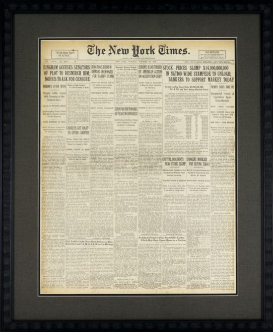 The New York Times, October 29, 1929.