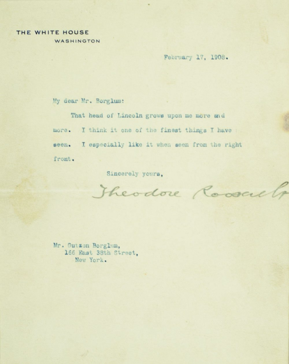 Theodore Roosevelt Signed Letter To Gutzon Borglum.