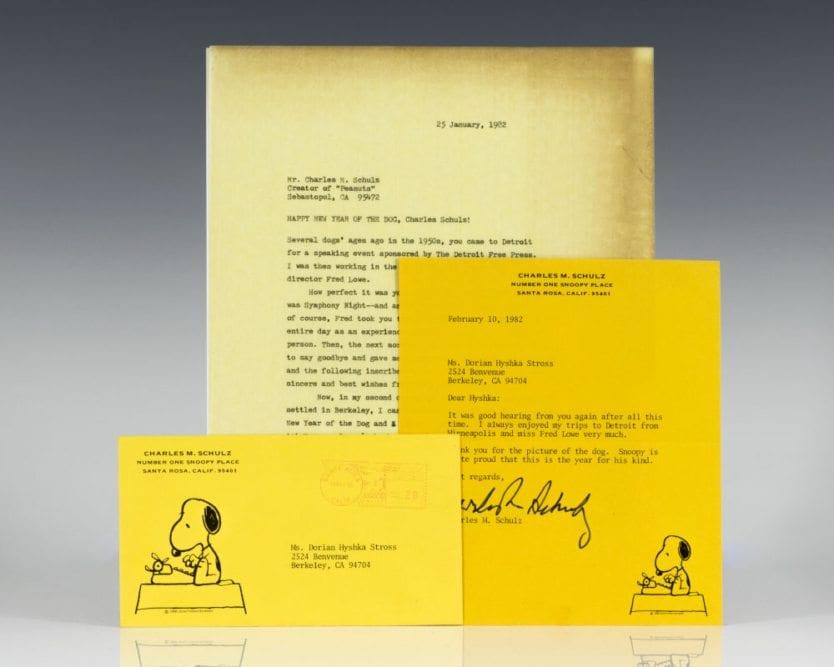 Charles Schulz Signed Illustration.