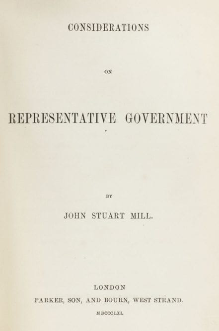 Considerations on Representative Government.