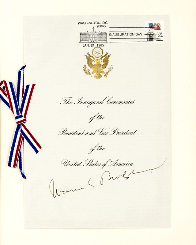 Chief Justice Warren E. Burger Signed 1985 Inauguration Program.