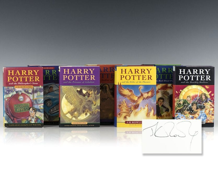 First edition, First Issue of Each Volume in J.K. Rowling's Harry Potter Series. Harry Potter and the Philosopher's Stone, Chamber of Secrets, Prisoner of Azkaban, Goblet of Fire, Order of the Phoenix, The Half-Blood Prince, and The Deathly Hallows.  All are first issues, including the first Harry Potter and the Philosopher's Stone. The copyright page has the full print number string 1 through 10 and has the Wendy Cooling quote at the base of the front board. Also shows the young Wizard to the rear board and the misprint on page 53 with 'wand' appearing twice on Harry's shopping list for Diagon Alley. In excellent condition that shows some light rubbing to the boards and some slight toning to the spine. Volumes 2-6 are all first editions and are fine in fine dust jackets. Each volume is signed by J.K. Rowling and each are housed in a custom half morocco clamshell box. Scarce and desirable.
