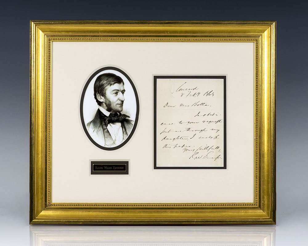 Ralph Waldo Emerson Autographed Signed Letter.