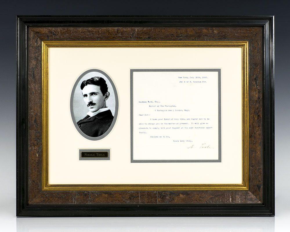 Nikola Tesla Autographed Letter Signed.