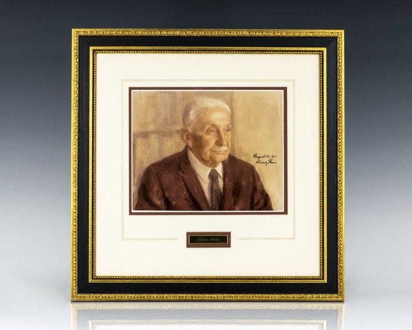 Ludwig Von Mises Signed Portrait.