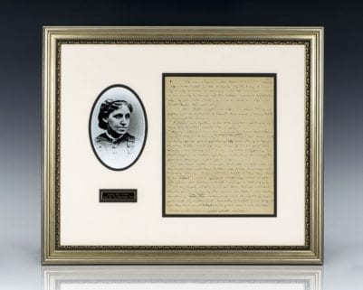 Louisa May Alcott Manuscript Leaf.