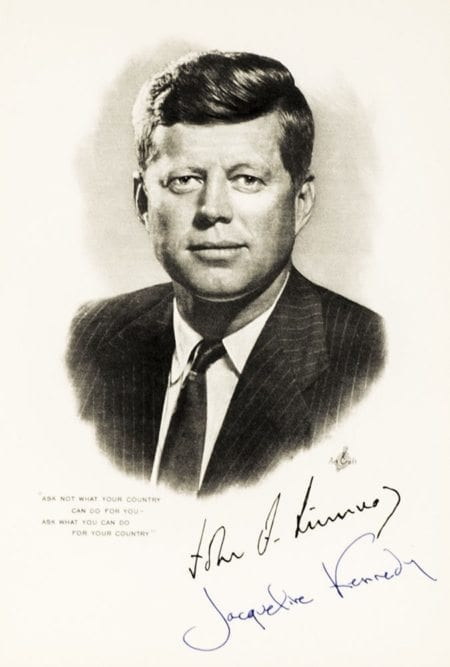 Jacqueline Kennedy Signed Engraving of John F. Kennedy.