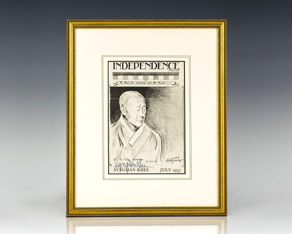 Syngman Rhee Signed Portrait.