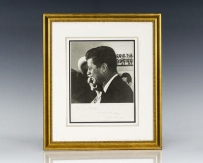 Jacqueline Kennedy Signed Photograph of President John F. Kennedy.