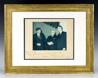 Signed Photograph of John F. Kennedy, Lyndon B. Johnson and Harry S. Truman.
