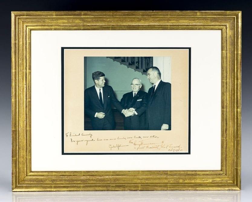 Signed Photograph of John F. Kennedy, Lyndon B. Johnson and Harry S. Truman.