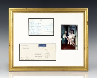 Jacqueline Kennedy Signed Postcard to John Kennedy, Jr.