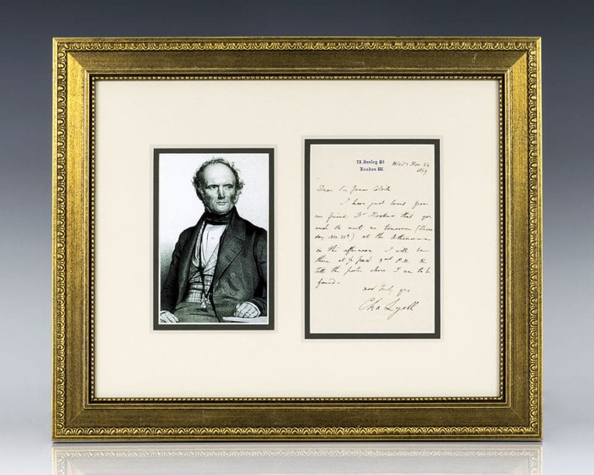 Charles Lyell Autographed Letter Signed.