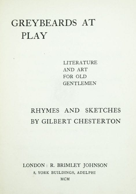 Greybeards At Play: Literature and Art For Old Gentlemen.