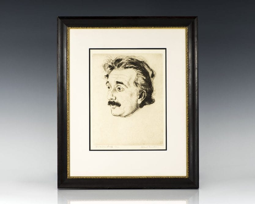 Albert Einstein Signed Etching.